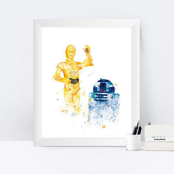 C-3PO and R2-D2 Watercolor Art Print  Star Wars Prints Star Wars Poster Star Wars Gift Painting Home Decor Birtfday Gift Wall Art Download