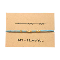 I Love You 143 Friendship Bracelet - Blue