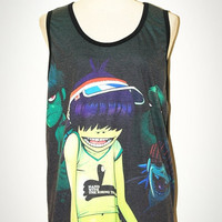 Gorillaz Black Tank Top Singlet Sleeveless Photo Transfer Women Art Punk Rock T-Shirt Size L