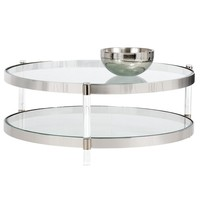 NYE LUCITE FRAME WITH TEMPERED GLASS TOP AND BOTTOM ROUND COFFEE TABLE