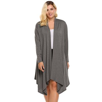 Women's Cardigan Autumn Plus Size Long Sleeve Solid Draped Open Front Asymmetrical Long Ladies Cardigan Oversized