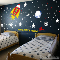 Baby Space Rocket Ship Wall Decal Planets Rockets Galaxy - Stars Boys Room Outer Space Wall Decals - Custom Name - Vinyl Sticker -