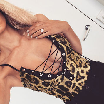 Sexy Leopard Print Skinny Bodysuit Women Autumn V-Neck Spaghetti Strap Lace Up Rompers Backless Ladies Jumpsuit