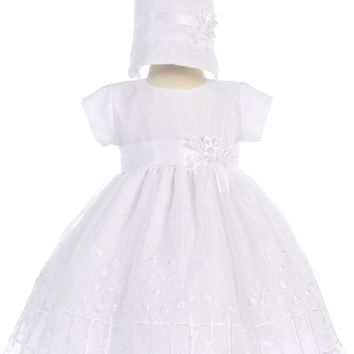 Girls Organza Baptism Dress w. Embroidered Climbing Roses 0-18M