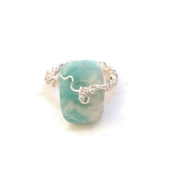 Larimar Rectangular Gemstone Ring Wire-Wrapped in Silver - Size 8 1/2 - RIN074