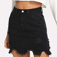 Raw Hem Ripped Denim Skirt