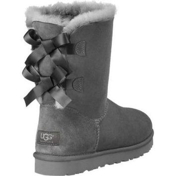 UGG:: bow leather boots boots in tube Grey
