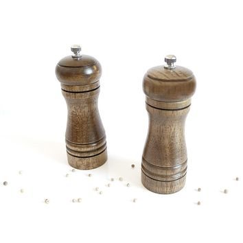 1 Pc 5 Inch Wooden Salt Pepper Grinder Spice Mills Hand Movement Manual Oak Wood Pepper Mill Kitchen Grinder Tools Ceramic Core
