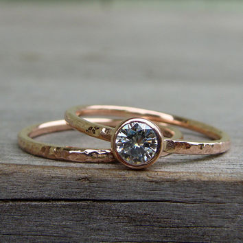 Delicate Moissanite and Recycled 14k Rose Gold Engagement Ring and Wedding Band Set, Stackable, Affordable, Eco-Friendly, Made to Order