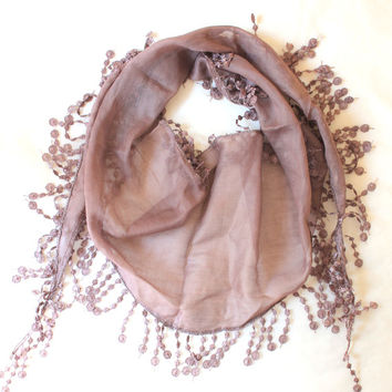 brown scarf,lace scarf,scarf,gift,boho scarf
