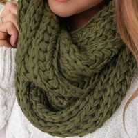 Season's Greetings Infinity Scarf - Olive