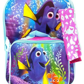 "Disney Pixar Finding Dory 16"" Blue Backpack w/Detachable Lunch Bag & Pouch"