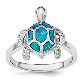 925 Sterling Silver Opal Beach Turtle Ring