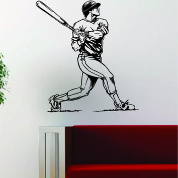 Baseball Player v7 Batter Home Run Decal Wall Vinyl Art Sticker Sports Decor Room MLB