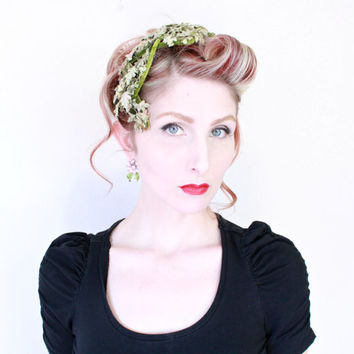1950s Fascinator / VINTAGE / 50s Hat / Green / Woodland Nymph / Leaves / Velvet