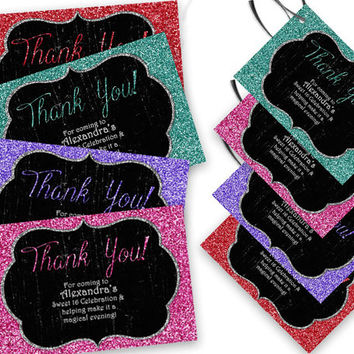 Sweet 16 Thank You Card - Grunge Glitter Sweet 16 Birthday Party Favor Tags - Party Favor Thank You Cards - Red - Pink - Blue - Purple Glitz