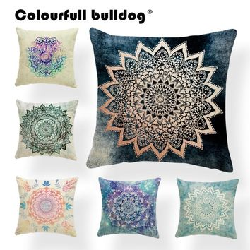 Mandala Buddhism Emblem Cushion Covers Lotus Petal Stripe Pillow Case Abstract Meditation Gifts For Mom Toss Pillow Large Linen