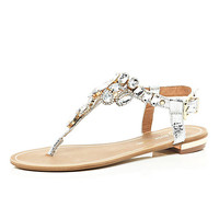 River Island Womens Silver gem embellished t bar sandals
