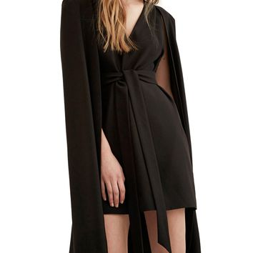 Black V-neck Tie Waist Cape Dress