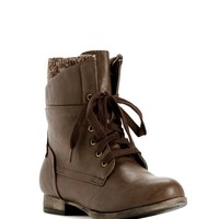 Brown Fall Cozy Combat Boots