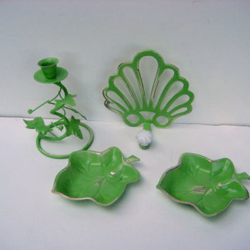 Vintage metal decor painted chartreuse green, distressed, includes one candle holder, 2 leaf candy dishes and a rack for holding accessories