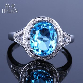 HELON Oval 14K White Gold Genuine Blue Topaz & Natural Diamond Halo Engagement Ring for Women