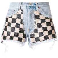 Sequin Check Denim Shorts by OFF-WHITE
