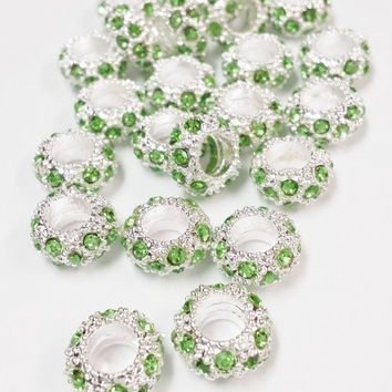 20 Green and Rhinestone Big Hole Beads, Jewelry Supply, 6x10mm Big Hole Beads,  Jewelry Findings, Green and Silver Rhinestone Crystal Beads