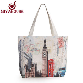 New Fashion Women Canvas Bags Marilyn Monroe Printed Handbags Women Shoulder Bags Tote Bag Simple Style Shopping Bags Women