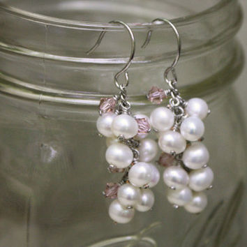 Ivory Freshwater Pearl Cluster Earrings with Vintage Rose Swarovski Crystals