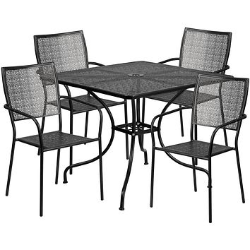 35.5'' Square Indoor-Outdoor Steel Patio Table Set with 4 Square Back Chairs