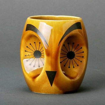 Vintage Owl Abstract Midcentury modern Gold by msmichiganroux