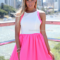 BALD ADDICTION DRESS , DRESSES, TOPS, BOTTOMS, JACKETS & JUMPERS, ACCESSORIES, 50% OFF SALE, PRE ORDER, NEW ARRIVALS, PLAYSUIT, COLOUR, GIFT VOUCHER,,Pink,White,SLEEVELESS Australia, Queensland, Brisbane