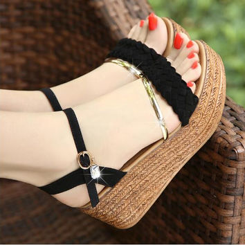 2017 new women wedge sandals summer female shoes platform high-heeled shoes