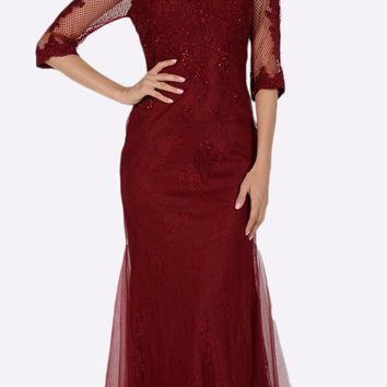 Mid Sleeves Lace V-Neck Fit and Flare Evening Gown Burgundy