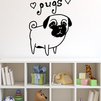Cute Pug Dog Wall Decal. Hearts. I Love Pugs. #OS_MB504
