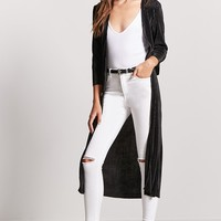 Pleated Satin Duster Cardigan