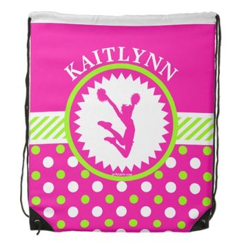 Monogrammed Cheer/Pom Pink and Green Polka-Dots Drawstring Backpacks