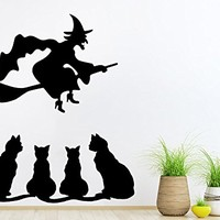 Wall Decal Halloween Vinyl Sticker Decals Witch On A Broomstick Cats Home Decor Art Bedroom Design Interior C177