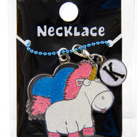 Authentic Despicable Me Heart Fluffy Unicorn Necklace with Letter Charm NEW