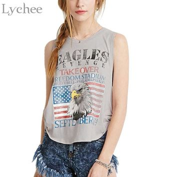 Casual Loose Summer Women Tank Top Eagles American Flag Print Sleeveless T-shirt Irregular Hem Side Bowtie Patchwork Tee Top