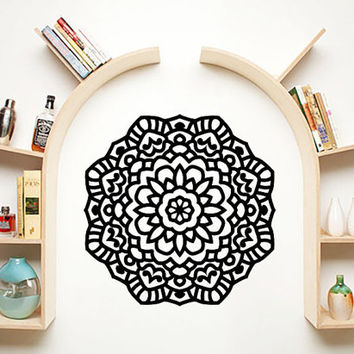 Mandala Wall Decal Namaste Flower Mandala Indian Lotus Yoga Wall Decals Vinyl Sticker Interior Home Decor Art Wall Decor Bedroom SV6025