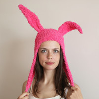 Pink Bunny Ears Hat, Funny Hat, Photo Prop, Soft Yarn Knitted Hat, Woman Hat, Girl Hat, Hot Pink Hat
