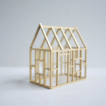 Golden wood framework  miniature architecture  geometric by 2of2