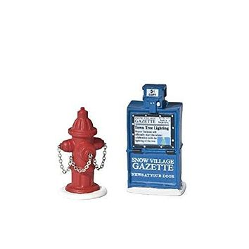Department 56 Village Fire Hydrant and Newspaper Box Accessory Set of 2