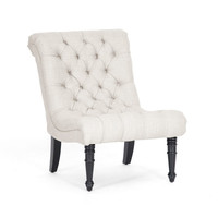 Soft & Tufted Linen Lounge Chair in Ash