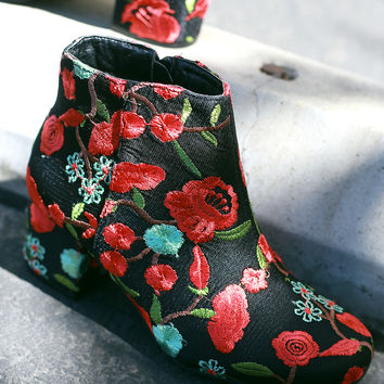 Embroidered Floral Block Heeled Booties | UrbanOG