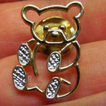 Vintage Avon Teddy Bear Pin Gold Tone, Costume Jewelry