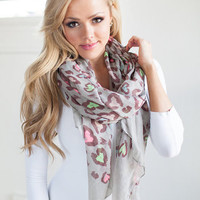 Leopard Covered in Spots Colorful Scarf Gray