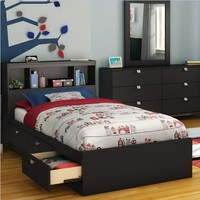 South Shore Spark Collection Twin Mates Bed, Pure Black